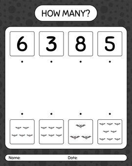 Hoeveel tellen spel met vleermuis. werkblad voor kleuters, activiteitenblad voor kinderen
