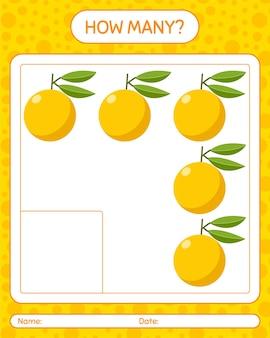 Hoeveel tellen spel met yuzu. werkblad voor kleuters, activiteitenblad voor kinderen, afdrukbaar werkblad