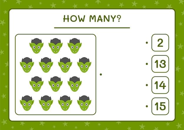 Hoeveel vampire, spel voor kinderen. vectorillustratie, afdrukbaar werkblad