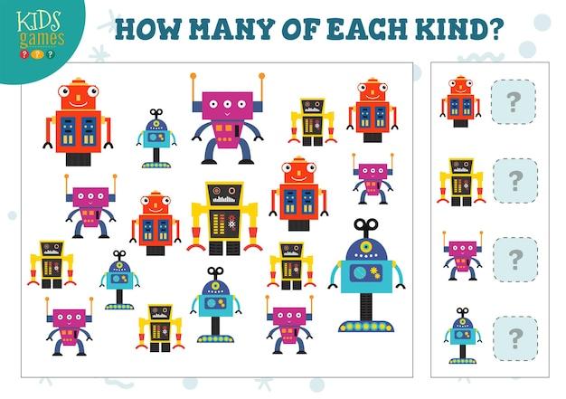 Hoeveel van elke soort cartoon robot kinderen tellen spel. educatieve activiteit voor kleuters met het tellen van objecten