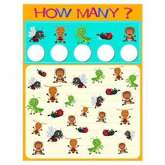 Hoeveel werkblad met veel insecten