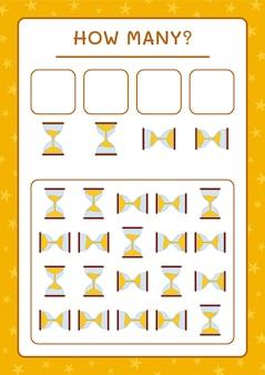 Hoeveel zandloper, spel voor kinderen. vectorillustratie, afdrukbaar werkblad