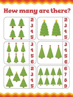 Hoeveel zijn er educatieve spelletjes voor peuters met kerstbomen. preschool of kleuterschool kerst werkblad. illustratie