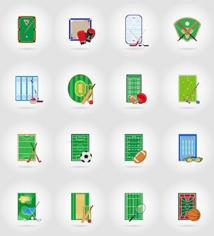 Hof speelplaats stadion en veld voor sport games plat pictogrammen vector illustratie