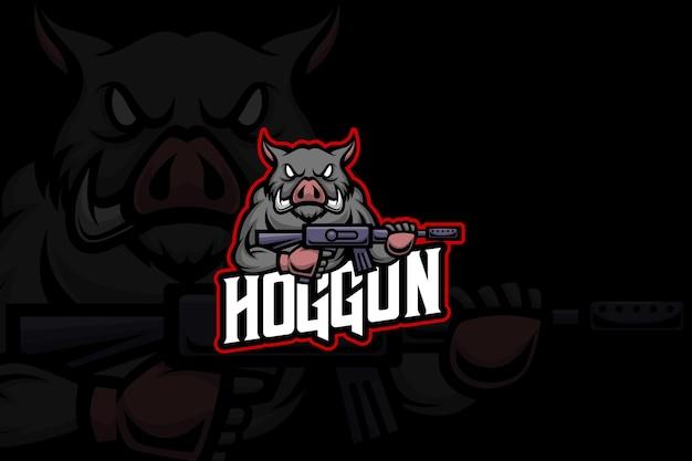 Hog gun - esport-logo sjabloon
