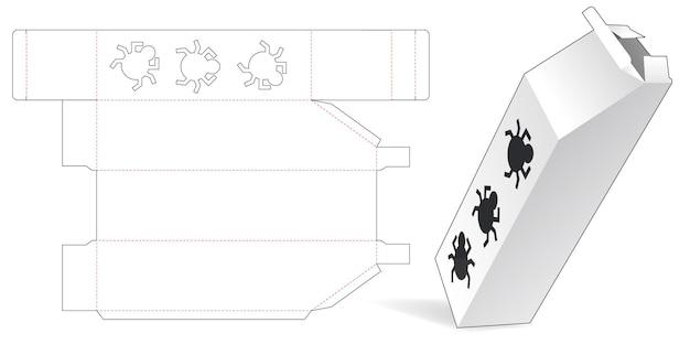 Hoge afgeschuinde doos met gestanste sjabloon voor insectenvenster