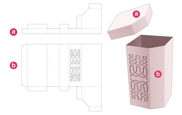 Hoge afgeschuinde doos met luxe lijnsjabloon gestanst sjabloon