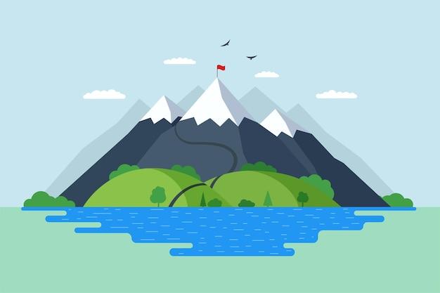 Hoge berg met groene heuvels bos en blauw meer natuur landschap. klimmers route trail naar rock top en rode vlag op piek. overwinning prestatie en het overwinnen van moeilijkheden symbool vectorillustratie