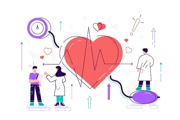 Hoge bloeddruk illustratie. flat tiny hartziekte personen concept. medisch onderzoek en cardiologie dokterscontrole. patiënt gezondheidsrisico met diagnose van hypertensie-polsmeting.