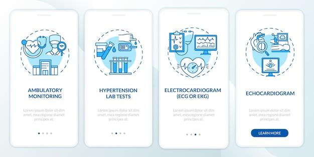 Hoge bloeddruk test onboarding mobiele app paginascherm. echo, elektrocardiogram walkthrough 4 stappen grafische instructies met concepten. ui, ux, gui vectorsjabloon met lineaire kleurenillustraties