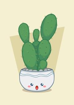 Hoge cactus in een schattige ronde pot