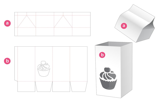Hoge doos met cupcake-vormig venster en deksel gestanst sjabloon
