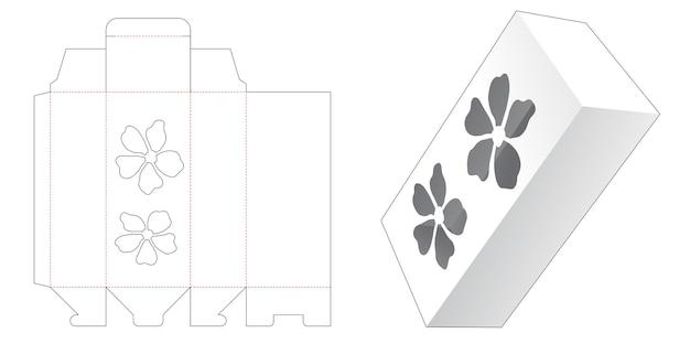 Hoge doos met gestanst sjabloon in de vorm van een venster in de vorm van een bloem Premium Vector
