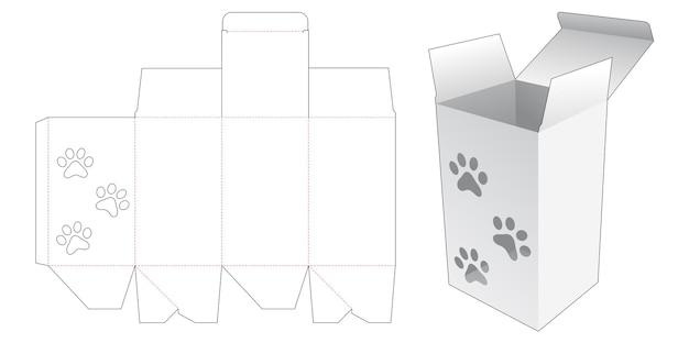Hoge doos met gestanste sjabloon in de vorm van een hondenvoetafdruk
