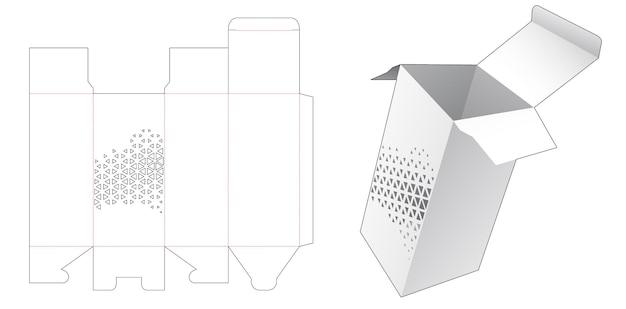 Hoge doos met gestencilde driehoekige gestanste sjabloon