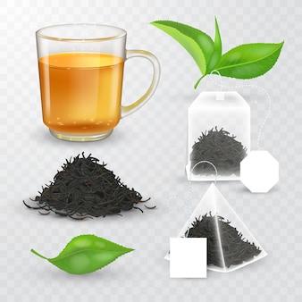 Hoge gedetailleerde illustratie van thee design elementen collectie. transparant kopje met vloeibare en droge thee. piramidaal en rechthoekig theezakje met label. realistische groene theebladeren.