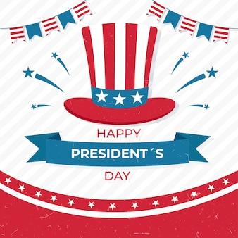 Hoge hoed met de dag van de amerikaanse kleurenvoorzitter