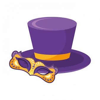 Hoge hoed met masker