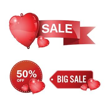 Hoge kwaliteit hart ballon badges, etiketten, tags. liefde en valentijnsdag.