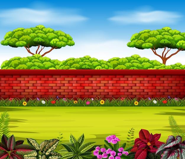 Hoge muur met hoge bomen en enkele bloemen