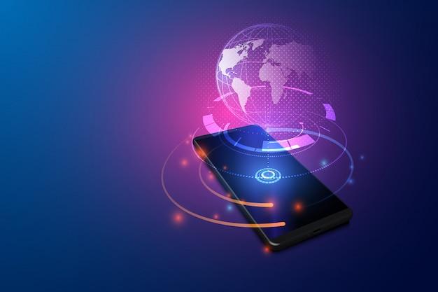 Hoge snelheidscommunicatie met world wide web overal ter wereld via telefoon mobiel internet.