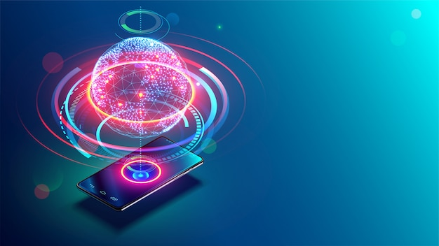 Hoge snelheidscommunicatie met world wide web overal ter wereld via telefoon mobiel internet
