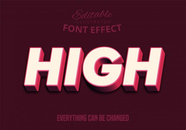 Hoge tekst, 3d bewerkbaar lettertype-effect