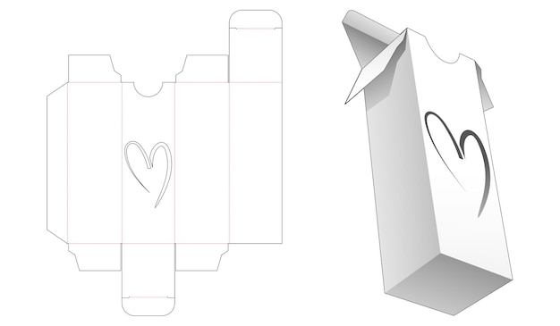 Hoge verpakking met hartvormig venster gestanst sjabloon