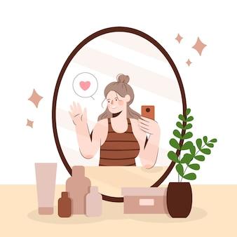 Hoge zelfrespect illustratie met vrouw die een selfie neemt
