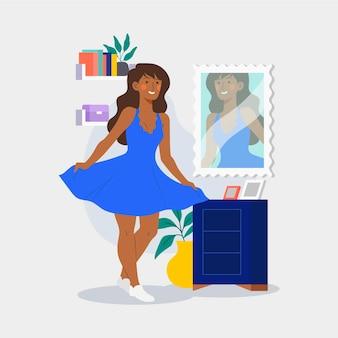 Hoge zelfrespect illustratie met vrouw en spiegel