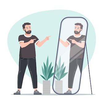 Hoge zelfrespect man in de spiegel kijken
