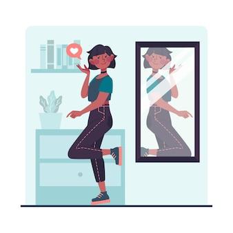 Hoge zelfrespect vrouw die in de spiegel kijkt