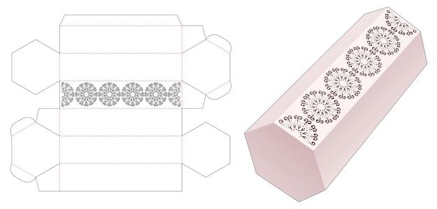 Hoge zeshoekige doos met gestencilde cirkelvormige mandala gestanste sjabloon