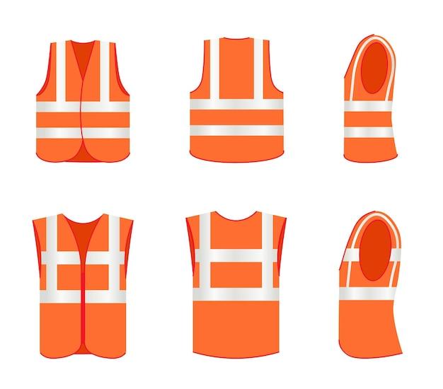 Hoge zichtbaarheidsvest, veiligheidsvest beschermend uniform. set van werkkleding met waarschuwing fluorescerende streep tape voor straat werknemer voorkant, achterkant, zijaanzicht vectorillustratie geïsoleerd op een witte achtergrond