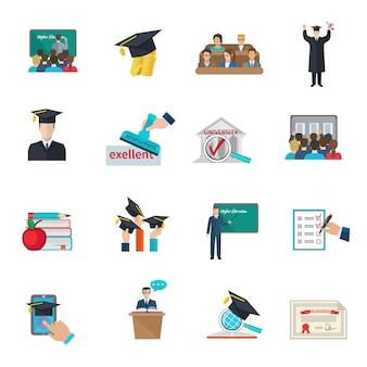 Hoger onderwijs en afstuderen met cloaks en academische caps pictogrammen instellen