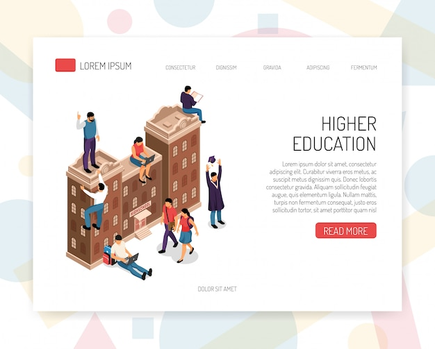 Hoger onderwijs instellingen carrière hogescholen universiteiten campus academische graden professionele certificaten isometrische concept website ontwerp vectorillustratie