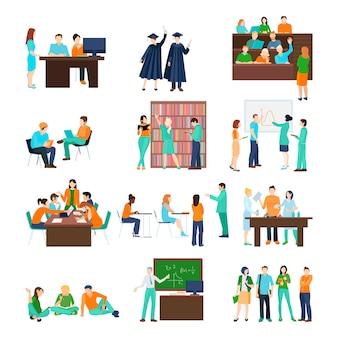 Hoger onderwijs persoon set van studenten in verschillende situaties