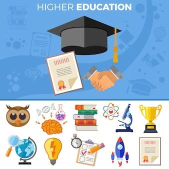 Hoger onderwijsbanner met platte pictogrammen voor flyer