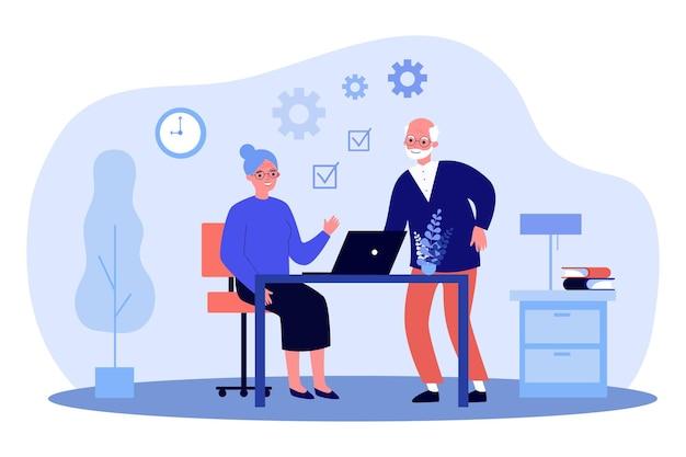 Hoger paar dat laptop samen met behulp van. oude man en vrouw leren app. flat vector illustratie