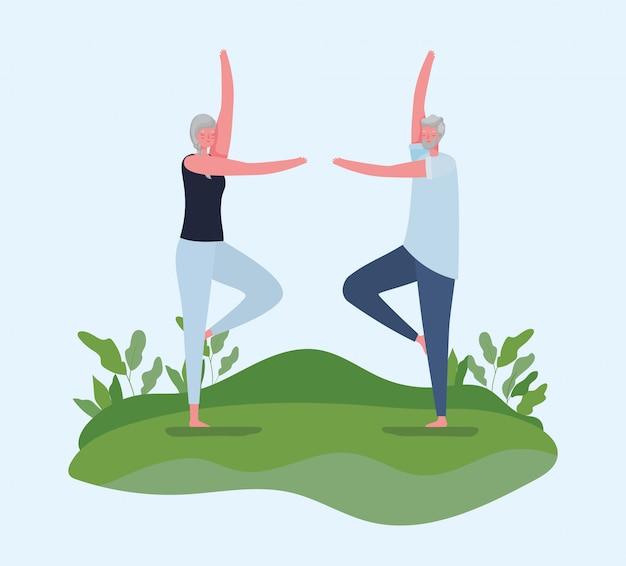 Hogere vrouw en man tekenfilms die yoga doen bij parkontwerp, activiteitsthema