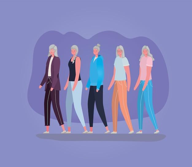 Hogere vrouwenbeeldverhalen op purper ontwerp als achtergrond, grootmoeder en oud vrouwelijk persoonsthema