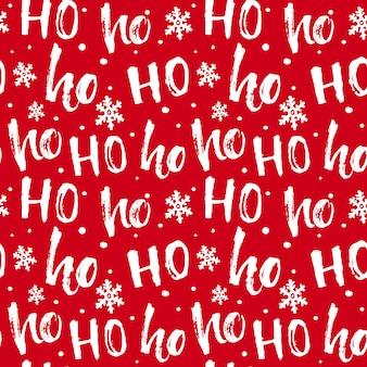 Hohoho patroon santa claus naadloze textuur voor kerstmis rode achtergrond met handgeschreven woorden ho