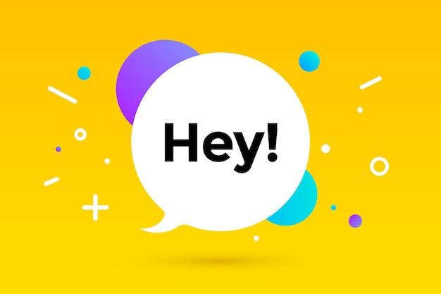 Hoi. banner, tekstballon, poster en sticker concept, geometrische memphis stijl met tekst hey. bericht hey of hallo voor spandoek, poster. explosie kleurrijk burst-ontwerp. vectorillustratie