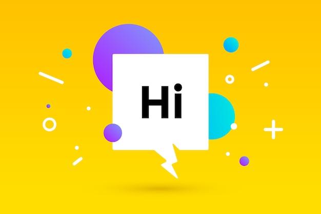 Hoi. banner, tekstballon, poster en sticker concept