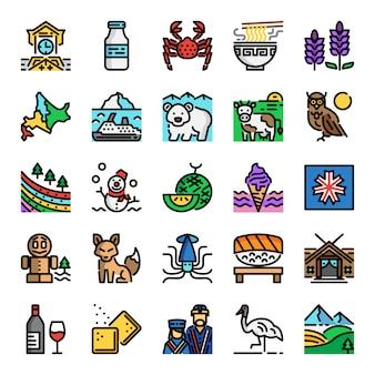 Hokkaido pixel perfecte kleurenlijnpictogrammen