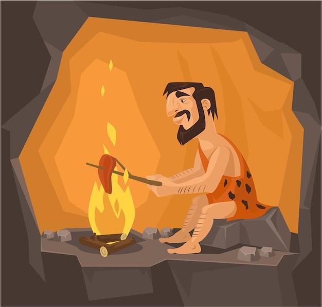 Holbewoner kookt in grotillustratie