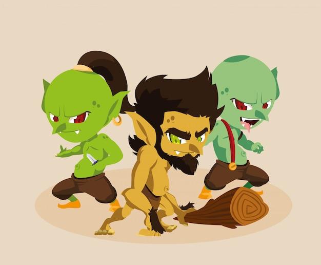 Holbewoner lelijk met trollen sprookjesachtig avatar karakter
