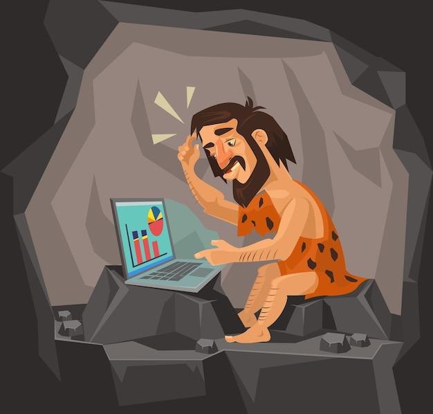 Holbewoner met behulp van laptop illustratie