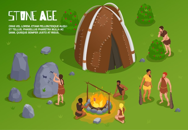 Holbewoner prehistorische primitieve mensenachtergrond met bewerkbare tekst en openluchtsteentijdlandschap met oude stam