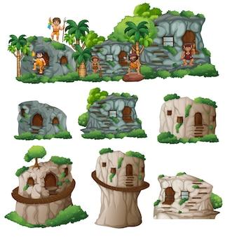 Holbewoners en huizen in de berg